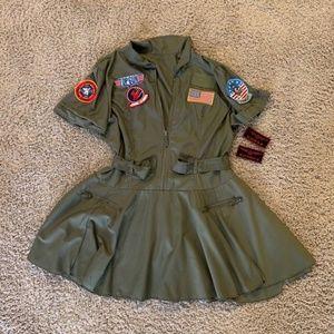Women's Top Gun Dress Costume Green XXL